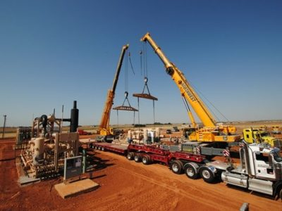 Transporting 160,000lb Gas Compressors to Geary,OK